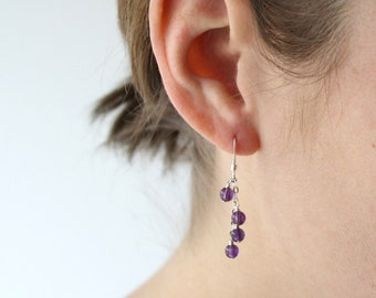 Amethyst Earrings in Sterling Silver for Protection and Motivation