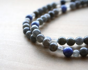 Natural Labradorite Necklace with Sodalite for Meditation and Intuition NEW