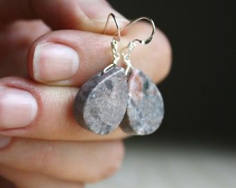 Natural Pink Marble Earrings for Flexibility and Meditation