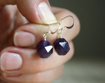 Faceted Amethyst Earrings for Protection and Focus