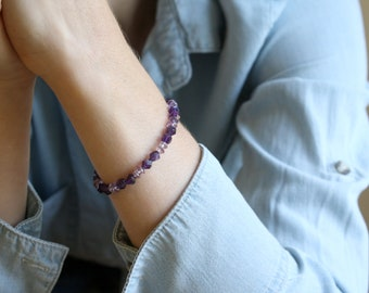 Faceted Amethyst Bracelet for Protection and Relieving Stress