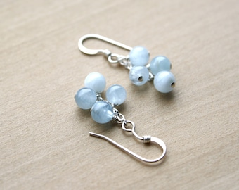 Genuine Aquamarine Earrings for Courage and Calm