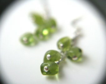 Natural Peridot Earrings Silver . August Birthstone Jewelry