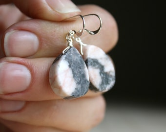 Natural Pink Marble Earrings for Mastery of Thought NEW