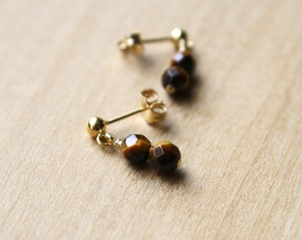 Tiger Eye Studs for Harmony and Balance NEW