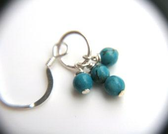 Genuine Turquoise Hoop Earrings