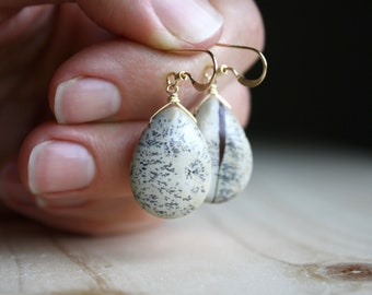 Limestone Earrings in 14k Gold Fill for Grounding and Positivity