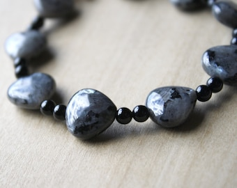 Larvikite and Black Onyx Bracelet for Grounding and Reflection