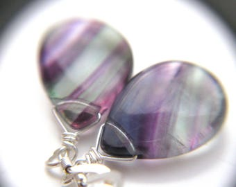 Mindfulness Jewelry . Rainbow Fluorite Earrings