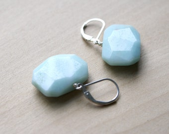 Blue Amazonite Earrings in Sterling Silver for Calm and Clarity