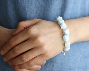 Raw Aquamarine Bracelet with Moonstone for Calm and Emotional Ease
