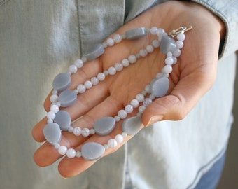 Angelite and Blue Lace Agate Necklace for Inner Peace and Tranquility