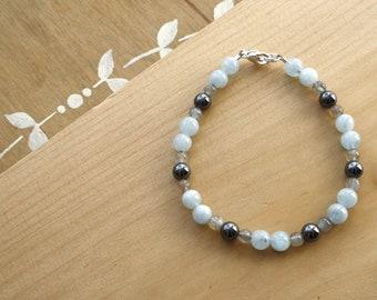 Labradorite, Hematite, and Aquamarine Bracelet for Calm