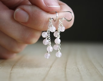 Rose Quartz Earrings in Sterling Silver for Unconditional Love