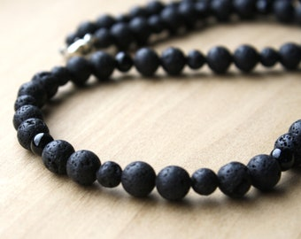 Lava Stone and Black Onyx Necklace for Grounding, Strength, and Essential Oil Diffusion