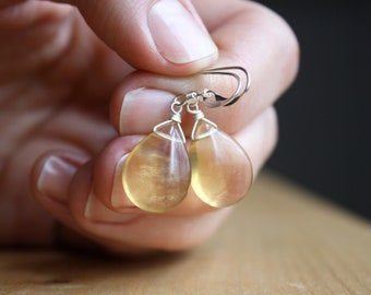 Yellow Fluorite Earrings in Sterling Silver for Mental Clarity and Focus