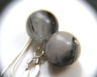 Tourmalinated Quartz Earring in Sterling Silver for Stability and Balance