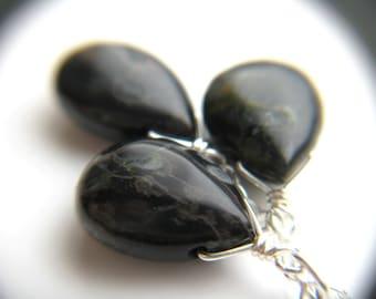 Black Leopard Skin Jasper Necklace . Stones for Protection