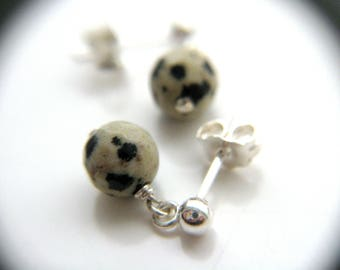 Dalmatian Jasper Studs in Sterling Silver for Comfort and Strength