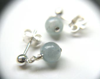 Genuine Aquamarine Stud Earrings . March Birthstone Jewelry