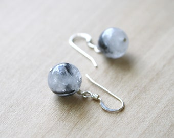 Tourmalinated Quartz Earrings in Sterling Silver for Stability and Balance