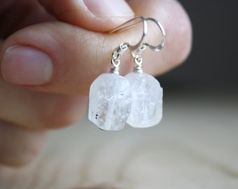 Raw Moonstone Earrings in Sterling Silver for New Beginnings NEW