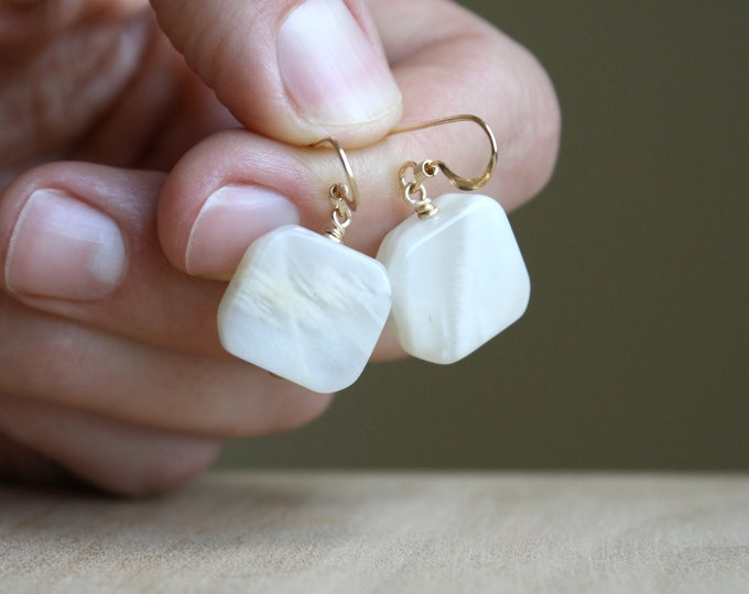 Featured listing image: White Moonstone Earrings in 14k Gold Fill for Inner Growth and Strength NEW
