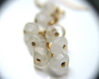 Rock Crystal Earrings in Gold . Meditation Gifts . 10th Anniversary Gift