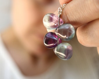 RESERVED Rainbow Fluorite Necklace on a 30 inch Sterling Silver Chain