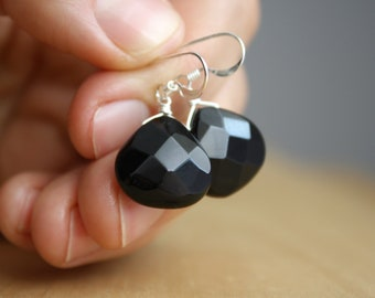 Faceted Black Onyx Earrings for Strength and Energy