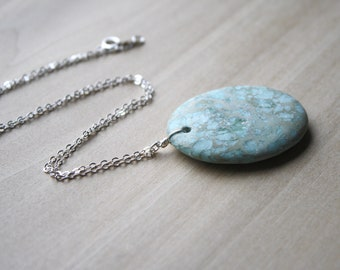 Aqua Terra Jasper Pendant Necklace for Grounding