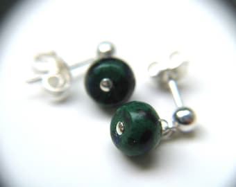 Malachite Azurite Studs in Sterling Silver
