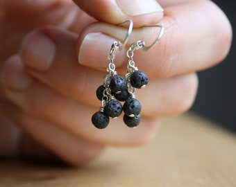 Oil Diffuser Earrings in Lava Rock and Sterling Silver . Self Care Gift for Women NEW