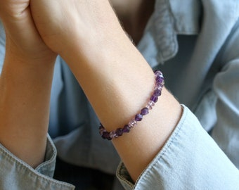 Faceted Amethyst Bracelet for Protection and Relieving Stress NEW