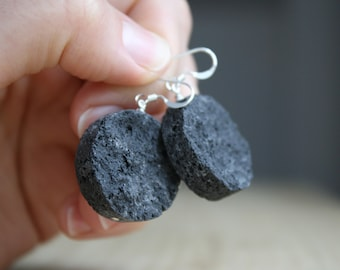 Essential Oil Diffuser Earrings . Lava Rock Earrings