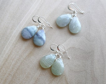 Green Fluorite Earrings in Sterling Silver for Concentration and Self Confidence NEW