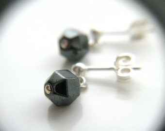 Hematite Stone Stud Earrings in Sterling Silver for Anxiety Relief