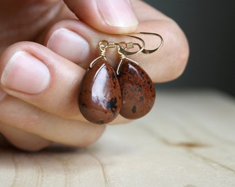 Mahogany Obsidian Earrings for Strength and Protection NEW