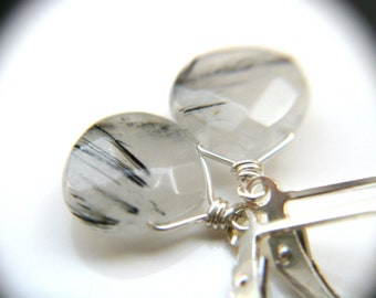 Tourmalinated Quartz Earrings on Sterling Silver Lever Backs for Balance