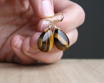 Tiger Eye Earrings in 14k Gold Fill for Balance and Meditation