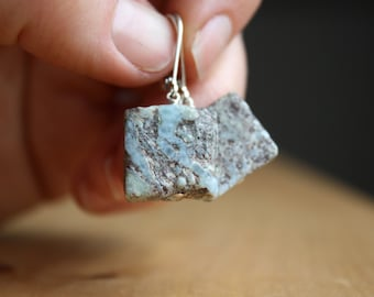 Larimar Earrings in Sterling Silver for Meditation and Tranquility