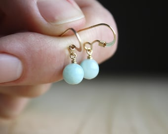Amazonite Earrings in 14k Gold Fill for Anxiety Relief and Clarity