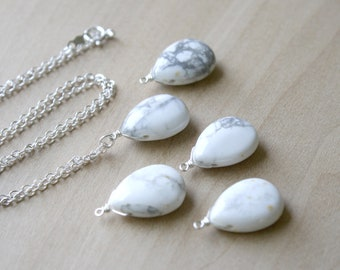 White Howlite Necklace for Anxiety Relief and Calm