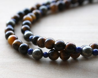 Tiger Eye, Lapis Lazuli, and Pyrite Necklace for Courage and Speaking Your Truth NEW