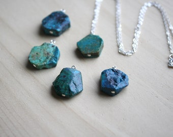 Natural Chrysocolla Necklace in Sterling Silver for Courage