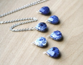 Sodalite Teardrop Necklace for Intuition and Creativity