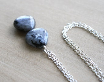 Black Moonstone Necklace in Sterling Silver for Grounding and Confidence