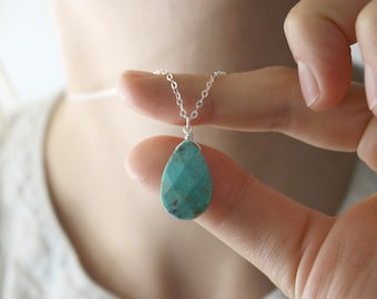 Genuine Turquoise Drop Necklace in Sterling Silver NEW