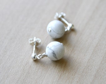 White Howlite Studs in Sterling Silver for Anxiety Relief and Self Expression
