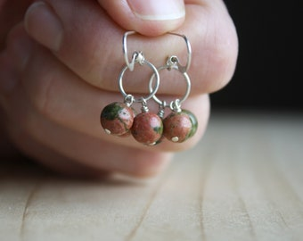 Natural Unakite Earrings in Sterling Silver for Emotional Resilience
